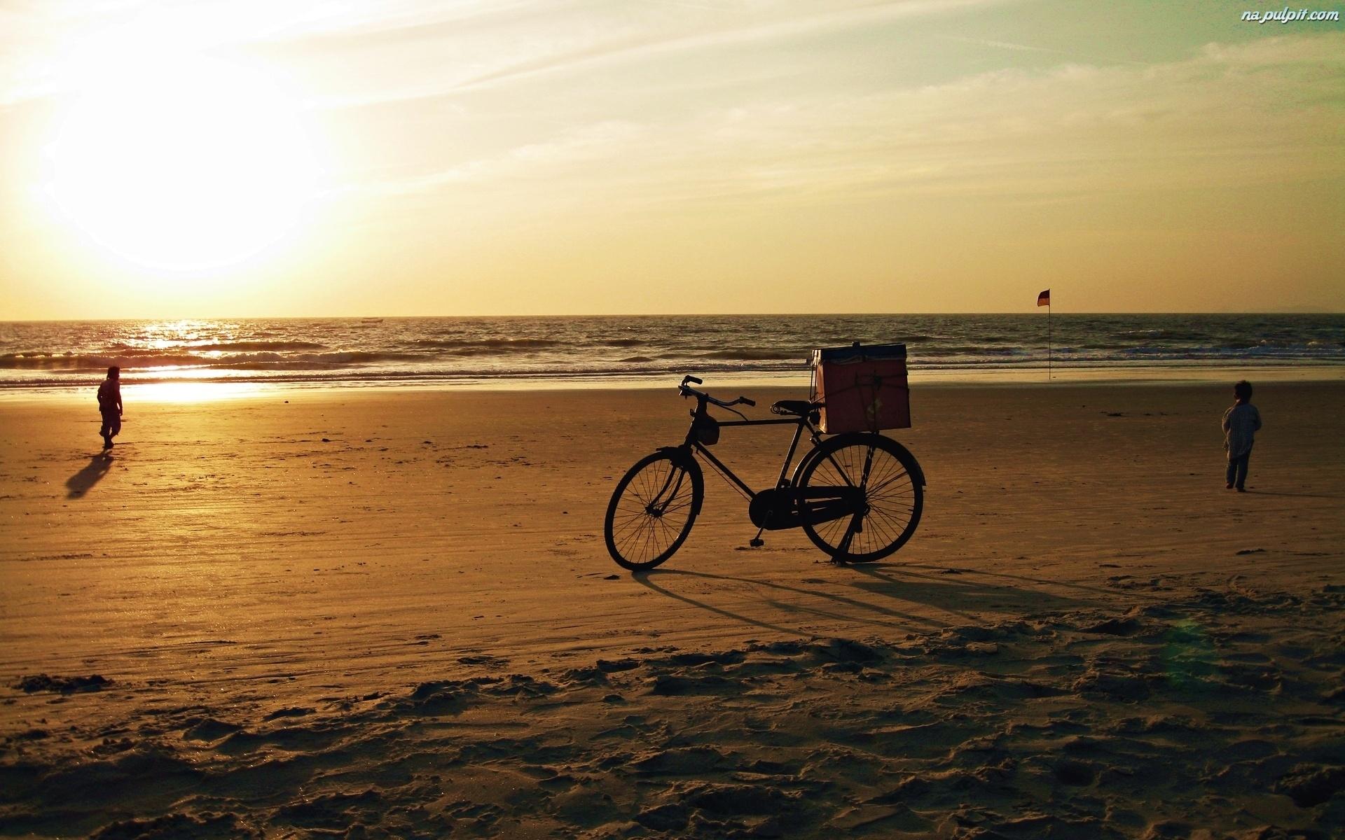 Rower, Plaża, Morze, Dzieci